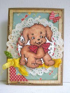 cute little puppy digi stamp on a card