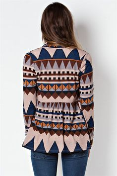 NWT Taupe Blue Rust Aztec Tribal Open Front Cozy Cardigan Long Sleeves #ClothingBucket #Cardigan