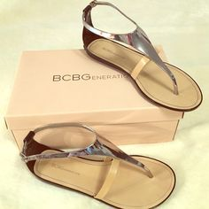 BCBGeneration strappy sandles! in perfect condition! only flaw is the wear in the second picture, i bought them at dillards for $88 last month. they are new! make me an offer  new in box! BCBGeneration Shoes Sandals