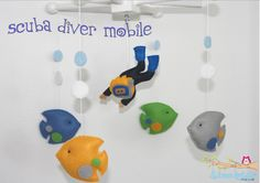 Baby Crib Mobile-Scuba Diver Crib Mobile-Under the Sea Mobile-Custom Made Mobile. $58.00, via Etsy.