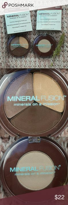 BNIB MineralFusion Eyeshadow Set~Natural/Neutrals Two new, unopened and unused eyeshadow from all natural brand Mineral Fusion. Bought from Whole Foods.   Trio in ''Fragile''  and Single in ''Buff''   Suoer flattering shades suitable for everyone C:  I have the trio in ''Stunning'' and love it! Mineral Fusion  Makeup Eyeshadow