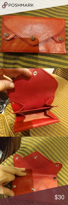 Authentic leather wallet Beautiful red color Perfect fit for mini bags With slots for bill all over, pls look at all the pics. No coin pocket. Bags Wallets