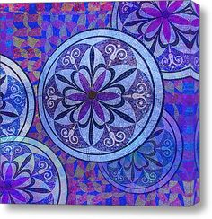 Mosaic Circles And Flowers Stretched Canvas Print / Canvas Art By Tony Rubino