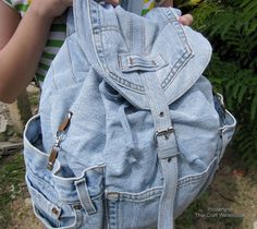 Thai Craft Warehouse - Large Open Side Pocket Large Recycled Denim Backpack