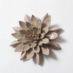 Taupe Succulent Ceramic Wall Decor