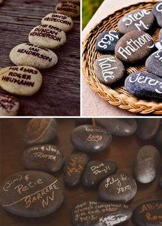 Idea para bodas: marcasitios y regalo para invitados con piedras