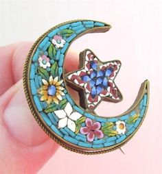 VICTORIAN Micro Mosaic Tile STAR and Crescent Moon BROOCH