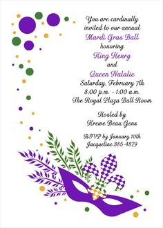 Personalize your creative and affordable Mardi Gras purple mask party invitations with our free Mardi Gra invitation wording samples for 2017 Fat Tuesday. Mardi Gras Carnival, Mardi Gras Party, Invitation Cards, Invite, Holiday Party Invitations, Mask Party, Mask Design, Holiday Parties, Envelopes