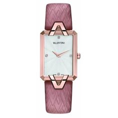 Valentino Women's Gemme Rectangular Rose-gold Case Pink Leather Watch Fancy Watches, Stylish Watches, Luxury Watches, Cool Watches, Women's Watches, Cheap Watches, Watches Online, Ring Armband, Pink Watch