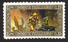 """Italy signaled its disapproval of human sacrifice with the 1.25-lira """"Interruption"""" stamp, featuring the art of Frank Frazetta."""