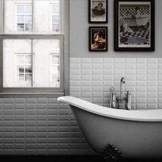 White metro tiles and grey walls - cool and clean
