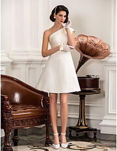 Vestido de Noiva Trapézio/Princesa Um Ombro Só Longuete (Cet... – BRL R$ 297,97