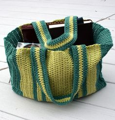 Large vertical striped crocheted tote in shades by TrinksKnitting, $25.00