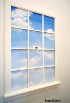 Kids new attic playroom - faux window idea