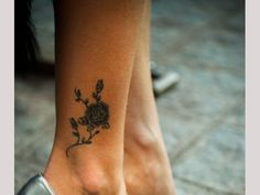 ankle tattoos for women | black rose on ankle 30 Exotic Black Rose Tattoo Designs