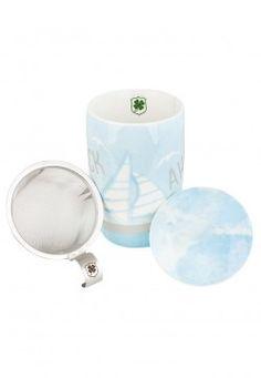 Glück ahoi Aquarell Tee-Becher mit Sieb