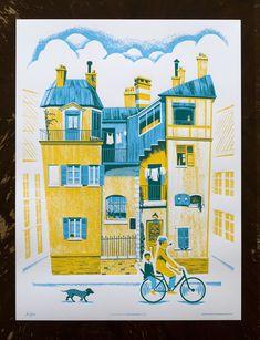 """A Ride Through Town"" Poster      PRODUCTION METHOD  Silkscreen    DESIGN  Familytree    Illustrator: Alex Pearson      PRINTING  Kangaroo Press"