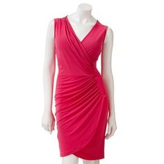 Jennifer Lopez Solid Faux-Wrap Dress