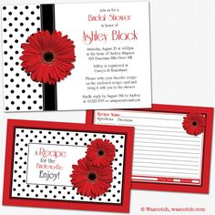 Retro chic red gerbera daisy,  black and white polka dot bridal shower invitations and matching recipe card enclosures. Perfect for a recipe or kitchen themed bridal shower. Printed. Comes with envelopes for mailing. Prices include priority shipping. Designed by wasootch.