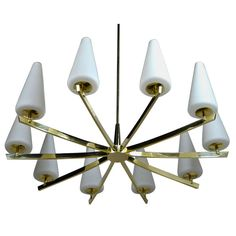 Vintage Italian Brass Chandelier | From a unique collection of antique and modern chandeliers and pendants at https://www.1stdibs.com/furniture/lighting/chandeliers-pendant-lights/