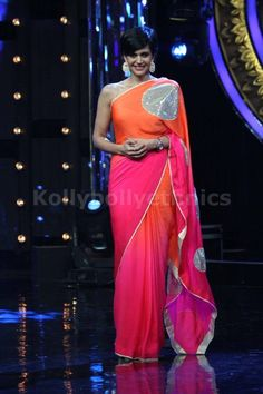 Bollywood Actress Mandira Bedi Georgette Saree in Orange and Pink Shaded color