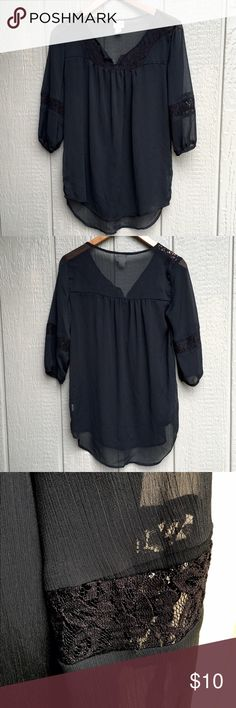 Old Navy blouse Sheer blouse in black with lace accents on the sleeves and the front. Cute with skinnies and a tank underneath. Mossimo Supply Co Tops Blouses