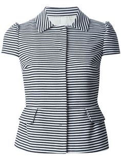 Shop for striped flare jacket by RED Valentino at ShopStyle. Blazers For Women, Suits For Women, Blouses For Women, Cool Outfits, Casual Outfits, Fashion Outfits, Blouse Styles, Blouse Designs, Vestidos Chiffon