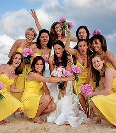 Yellow bridesmaid dresses with pink accents ... Wedding ideas for brides & bridesmaids, grooms & groomsmen, parents & planners ... https://itunes.apple.com/us/app/the-gold-wedding-planner/id498112599?ls=1=8 … plus how to organise an entire wedding, without overspending ♥ The Gold Wedding Planner iPhone App ♥