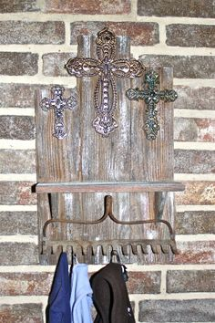 Rough Wooden Cross | Coat hanger made with metal crosses, rough wood, & old rake found at ...
