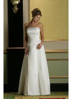 A-line/Sheath Strapless Sleeveless Flower/Beading Empire Floor-length Taffeta Wedding Dresses WE2015