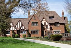 This Tudor mansion on the shore of Lake Erie, Ohio, has the style's classic steeply pitched roof and decorative framing.