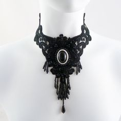 Black lace bib choker necklace goth gothic sequins long by Arthlin, $48.00