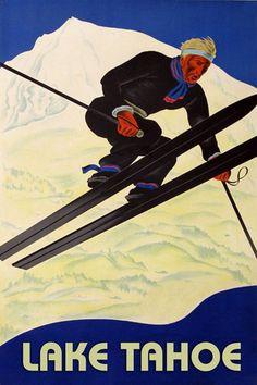 POSTER SKI FUN LAKE TAHOE WINTER SPORT DOWNHILL SKIING VINTAGE REPRO FREE S//H