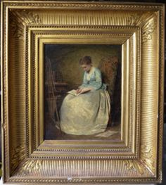 #Portrait of a young girl in blue dress, writing her diary. #Oil on #canvas signed Charles #Chaplin (1824-1891). #Giltwood frame. #19thcentury. For sale on #Proantic by Fourrel de Frettes.