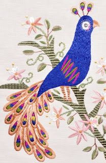 Birds of Luck - Peacock - Silk Embroidery Bird Embroidery, Embroidery Stitches, Small Tapestry, Peacock, Rooster, Arts And Crafts, Kids Rugs, Birds, Sewing