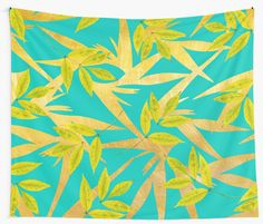 """Gold & Teal Florals #redbubble #lifestyle"" Wall Tapestries by Uma Gokhale 