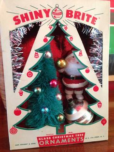 Vintage Shiny Brite Shadow Box / Diorama - Santa Decorates the Tree by Kitschland on Etsy https://www.etsy.com/listing/202653310/vintage-shiny-brite-shadow-box-diorama