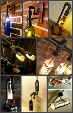 Бутылки-светильники Pipe-Lamps, лампа из труб, лофт, бутылки, лампа