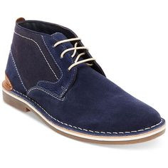 Steve Madden Men's Hot Shot Chukka Boots ($90) ❤ liked on Polyvore featuring men's fashion, men's shoes, men's boots, navy, mens shoes chukka boots, mens chukka shoes, steve madden mens boots, mens chukka boots and mens navy shoes