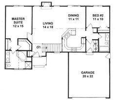Another multi-phase building possibility from Style House Plans - 1218 Square Foot Home , 1 Story, 2 Bedroom and 2 Bath, 2 Garage Stalls by Monster House Plans - Plan 2 Bedroom House Plans, Ranch House Plans, Small House Plans, The Plan, How To Plan, Plan Plan, Br House, Cottage House, Genius Ideas