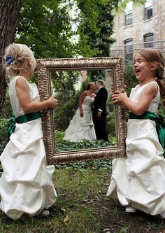 Wedding Pictures Junior bridesmaids or flower girls holding vintage picture frame for bride and groom wedding day photography; For ideas and goods shop at Estate ReSale Wedding Groom, Wedding Pics, Wedding Bells, Wedding Engagement, Our Wedding, Dream Wedding, Trendy Wedding, Party Wedding, Bride Groom