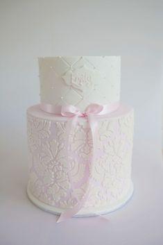 Damask Christening Cake - a photo on Flickriver