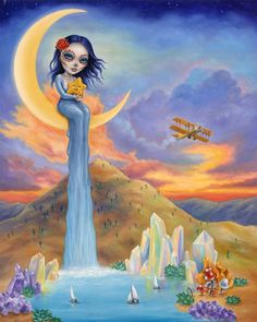 dia de los muertos, day of the dead, sugar skull, waterfalls, moon child, desert, wild west, moonlight, rainbow, sunset, clouds, mermaid hair, mermaid, evening gown, surrealism, pop art, crystals, aura crystals