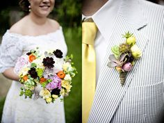 lots of contrast in the bouquet with the darker flowers. the boutonniere is creative and the perfect size.