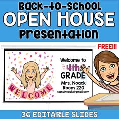 The free Bitmoji Back to School Open House Presentation is the perfect way to start planning for your meet the teacher night! Back To School Night, 1st Day Of School, Middle School, High School, Curriculum Night, 4th Grade Classroom, Classroom Teacher, Teacher Binder, Classroom Language
