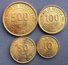 ✅MONEDA DEL PERÚ✅  •SERIE SOLES•  - 500 Soles - 100 Soles - 50 Soles - 10 Soles Año: 1984-1985 Metal : Bronce