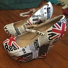 "Pinup rockabilly British Invasion platform heels It's time for a British Invasion! These are never worn 5-6"" RARE platform Machi heels. Snag a cute Brit walking the streets in these showstoppers!!!! Machi Shoes Platforms"