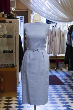 Pale Blue Linen Vintage Dress