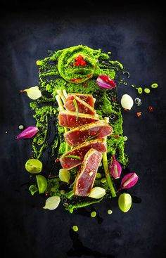 Tuna with peas and wasabi