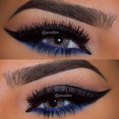 cool-toned cat eye makeup @ana0m: black liner, silver glitter, blue lower lashline & waterline